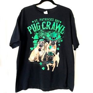 St Patrick's Day Pug Crawl Graphic Tee XL